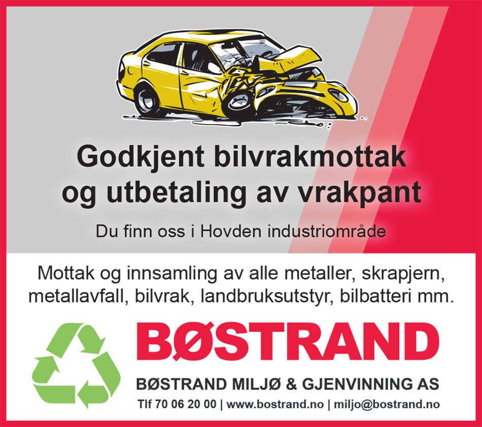 Bøstrand Miljø & Gjenvinning annonse bilvrak metall